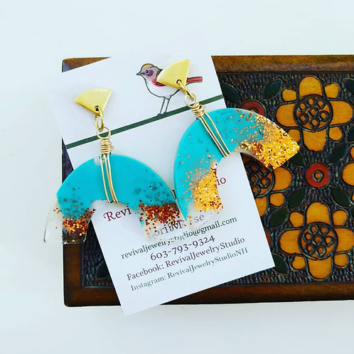 Rainbow Shaped Resin Earrings - Blue Sky Collection