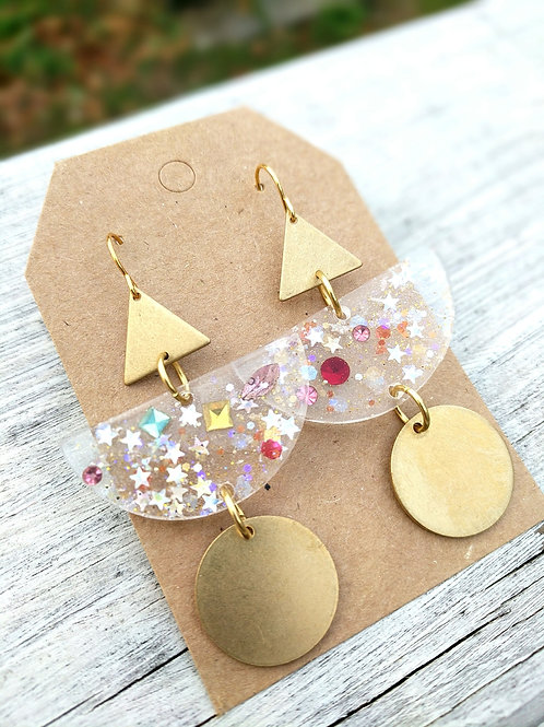 Festive Resin and Brass Earrings