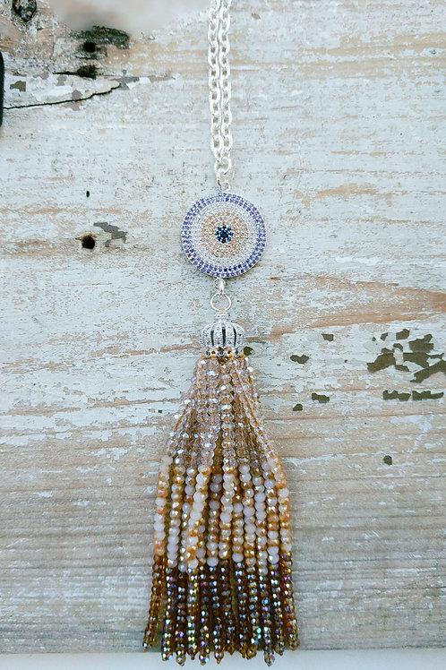 Beaded Topaz Tassel Necklace with Pave Rhinestones