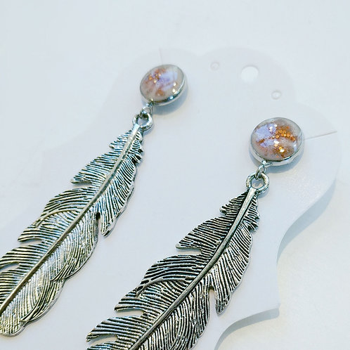 Feather Earrings - long silver feather