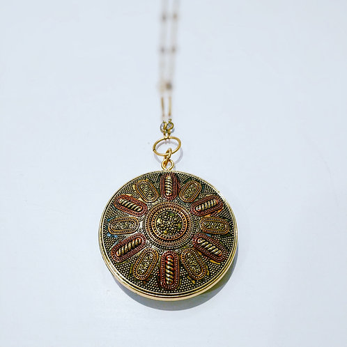 Gold and Copper Medallion Necklace