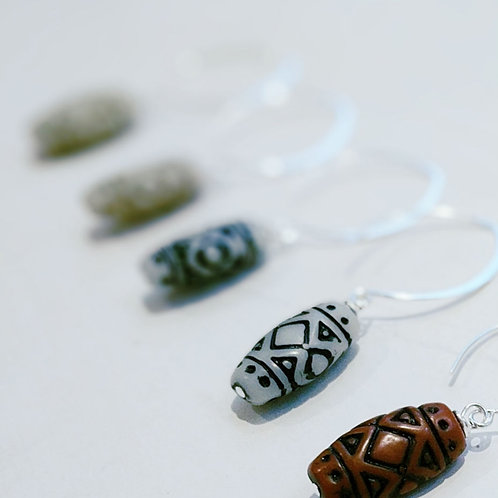Boho Style Vintage Bead Earrings - Black and White