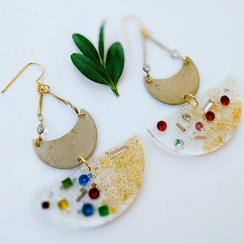 Half Moon Resin and Brass Earrings