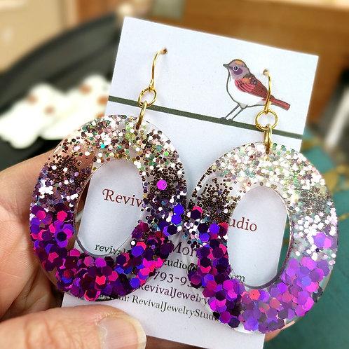 In the Pink Resin Oval Earrings