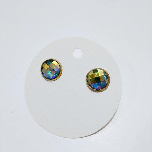 Swarovski Crystal Stud Earrings - Golden Aurora