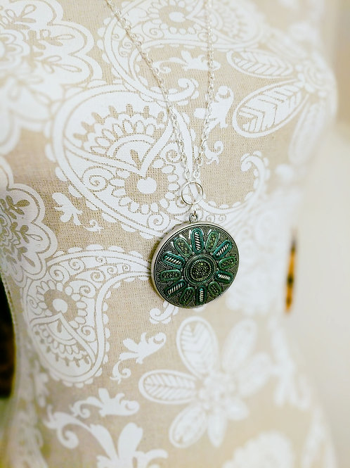 Medallion Necklace in Silver, Green, and Teal