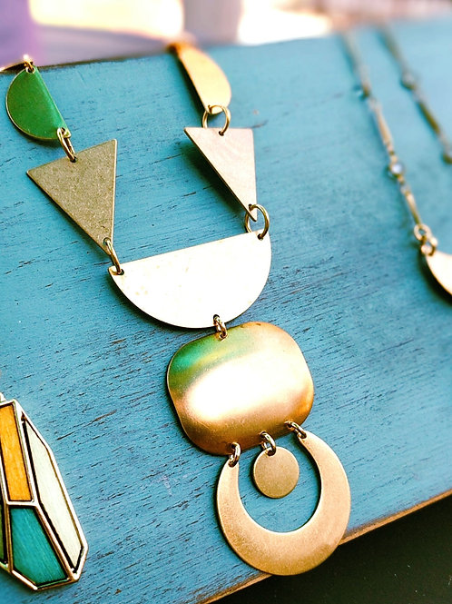 Geometric Brass Statement Necklace