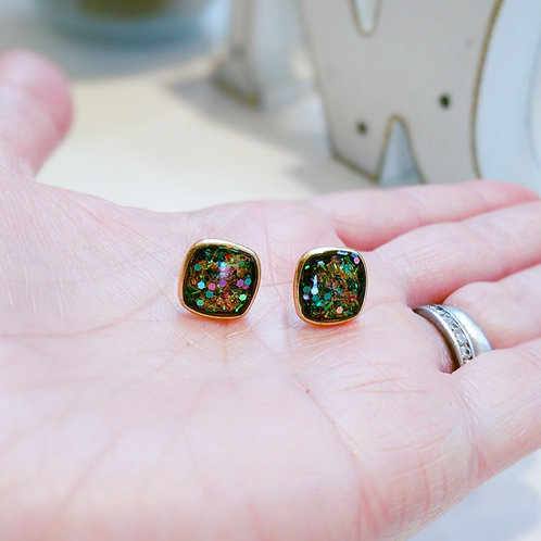 Sweet Glitter and Resin Earrings - Post Earrings