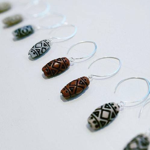 Boho Style Vintage Bead Earrings - Cocoa and Black