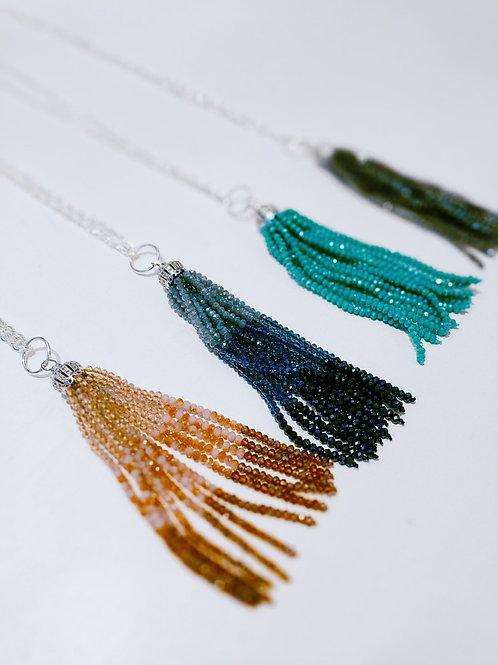 Glass Beaded Tassel Necklace