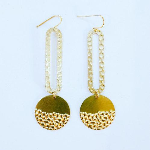 Long hammered brass boho earrings
