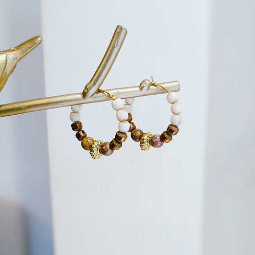 Hoop Earrings - neutral beads