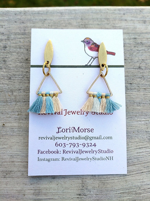 Tiny Tassel Earrings - blue and beige