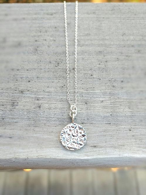 Textured Silver Coin Pendant Necklace