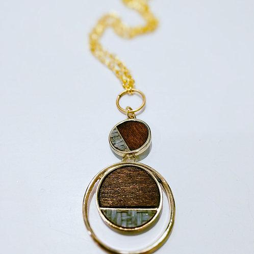 Wood Pendant Necklace - double circle
