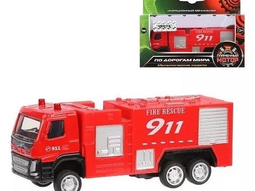 25-219-1 Грузовик мет.ин. Пожарная машина 1:72 Volvo. 12 см