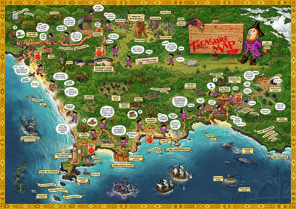 Kangaroo Island Wilderness Trail Treasure Map by Louis Decrevel