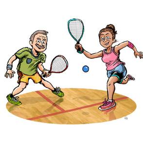 Over 50s Racquetball cartoon