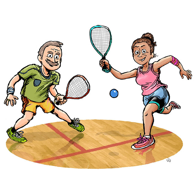 Over 50s Racquetball cartoon