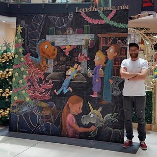 Shopping mall chalk art (live)