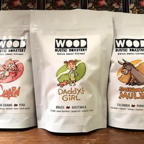 Wood Rustic Roastery coffee labels