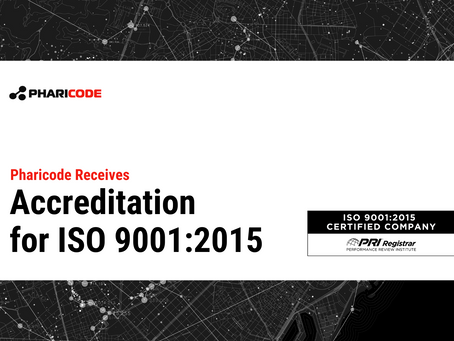 Pharicode Receives Accreditation for ISO 9001:2015