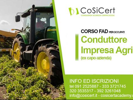 Al via i nuovi corsi - Conduttore di Impresa Agricola (ex capo azienda)
