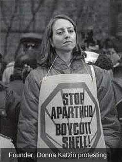 Founder, Donna Katzin protesting
