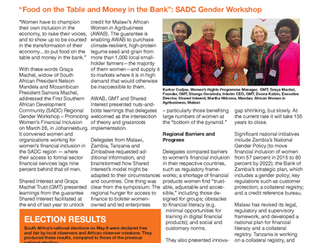 """Food on the Table and Money in the Bank"" : SADC Gender Workshop"