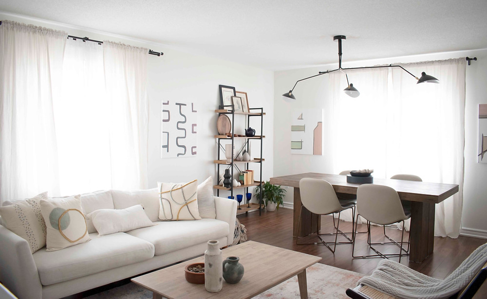 A wholesome living, dining area that feels fresh and rejuvenating.