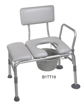 Padded Tub Transfer Bench w/Commode Opening