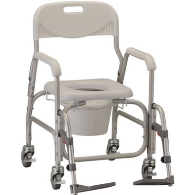 Drop Arm Rolling Shower Commode Chair