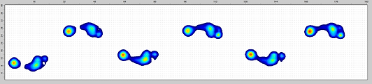 A screen capture of a person's footprints in pressure data after they have walked across the Walkway Sensor.