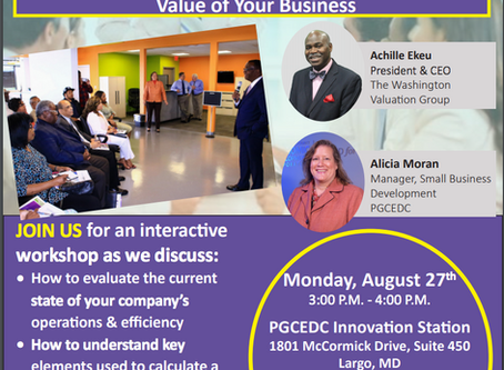 Important Upcoming Workshop with the Prince George's County Economic Development Corporation