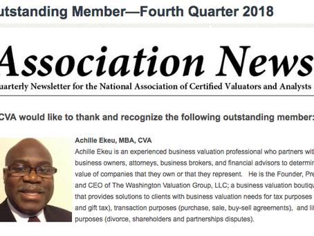 Great NEWS!  Achille Ekeu Selected As NACVA's Outstanding Member 2018