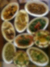 Variety of salads and warm Mezza