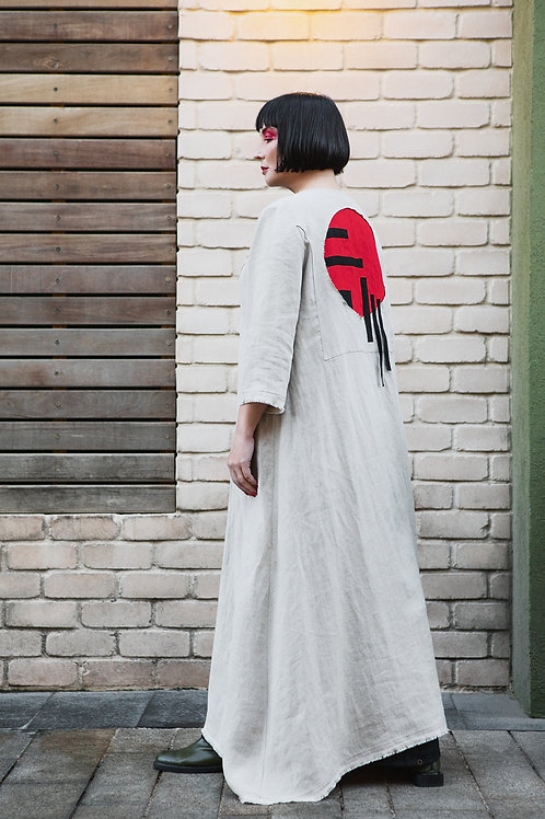 """Linen cardigan with """"Red Sun"""" applique"""