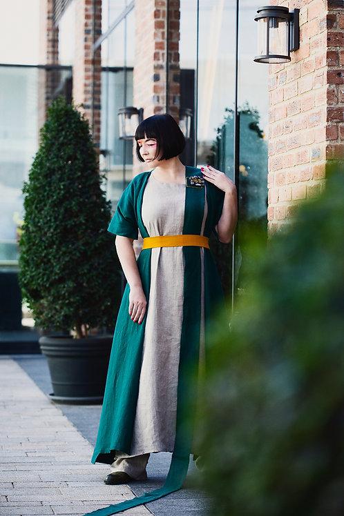Linen kimono-styled cardigan/dress