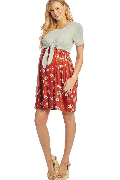 Lahua Maternity Dress (Rust Floral)