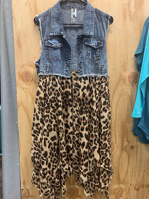 Leopard Denim vest