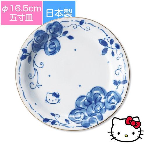 日本HELLO KITTY現代和風藍玫瑰系列餐具 - 五寸餐碟