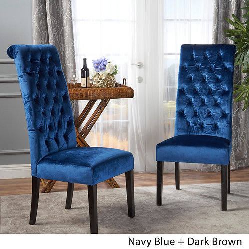 Leorah Tall Back Tufted Velvet Dining Chair