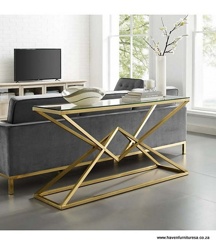 GEOMETRIC POINT GLASS TOP CONSOLE TABLE