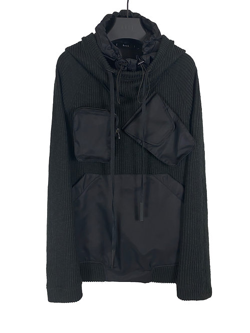 DOUBLE HOODED PULLOVER (BLACK)