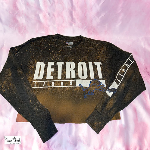 Detroit Lions Bleached Long Sleeve Cropped Tee