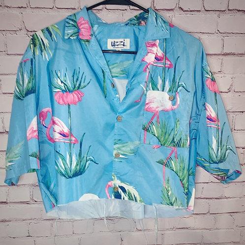 Flamingo Cropped Hawaiin Shirt