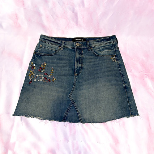 Bedazzled Jean Skirt