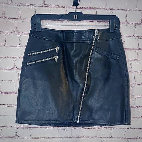 Asymmetrical Zip Faux Leather Skirt