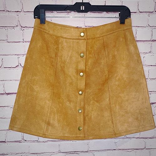 Suede Button Skirt