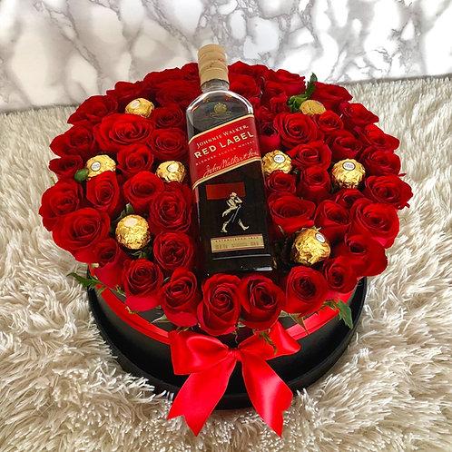 Caja de Rosas con botella